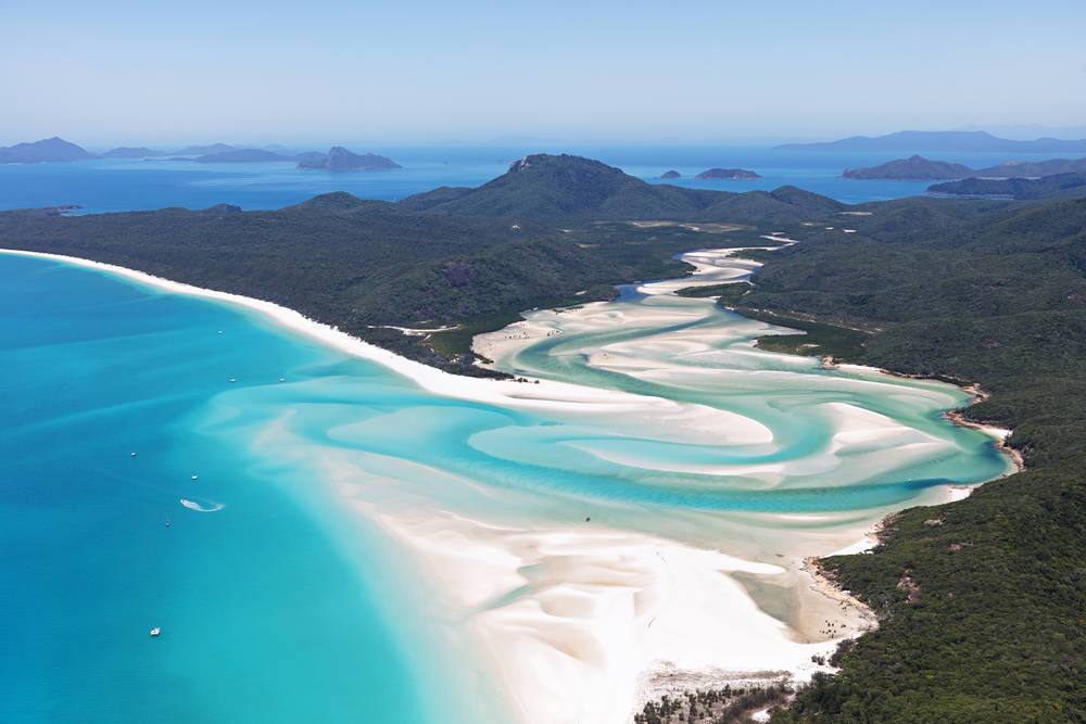 Whitehaven beach in Queensland is stunning from a cruise ship.