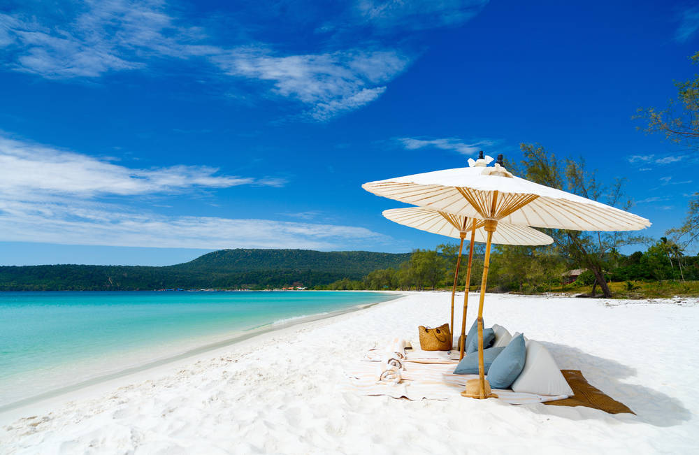 White sand at the stunning beach on Koh Rong island in Cambodia.