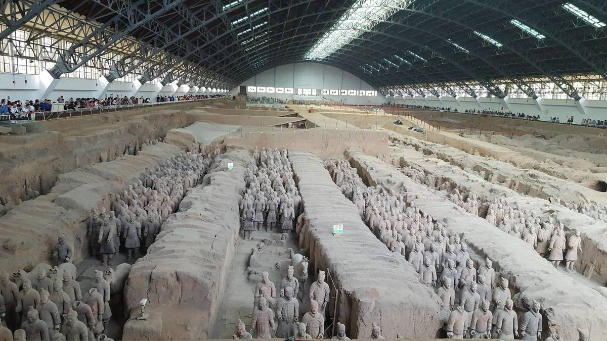 Inside Pit One at the Terracotta Warriors in Xian China.