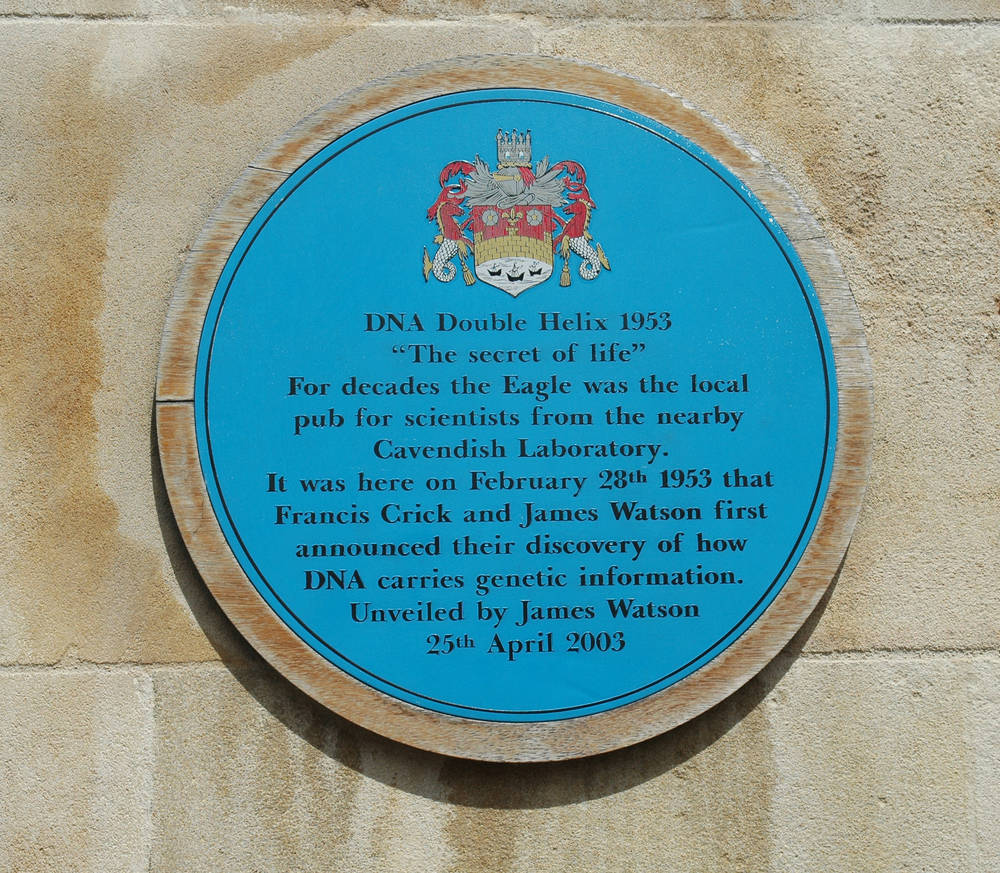 A plaque outside the Eagle is dedicated to Francis Crick and James Watson.