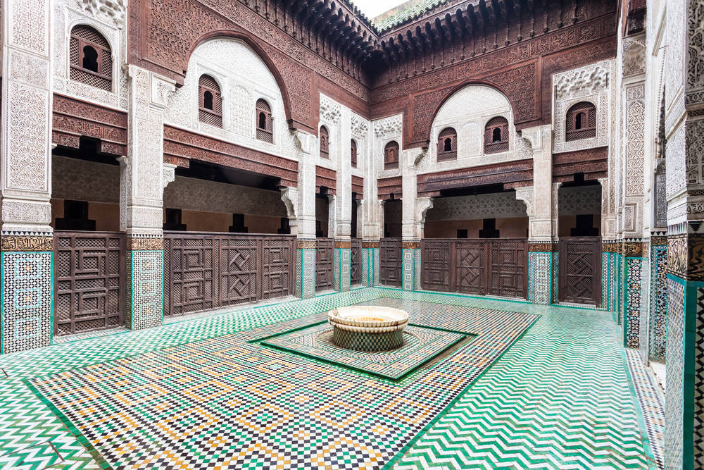 Madrasa Bou Inania interior in Meknes, Morocco. Madrasa Bou Inania is acknowledged as an excellent example of Marinid architecture in Meknes.